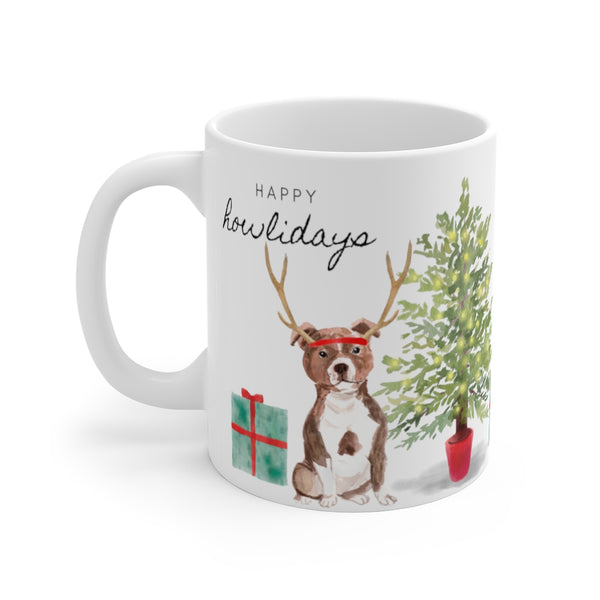 Happy Howlidays Mug — Staffie (left side view)