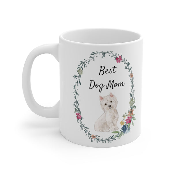 Best Dog Mom Ceramic Coffee Mug — Westie (left side view)