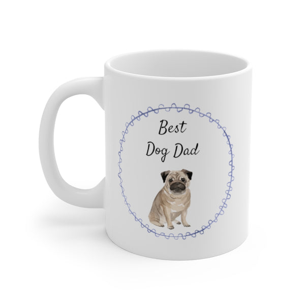 Best Dog Dad Mug — Pug (left side view)