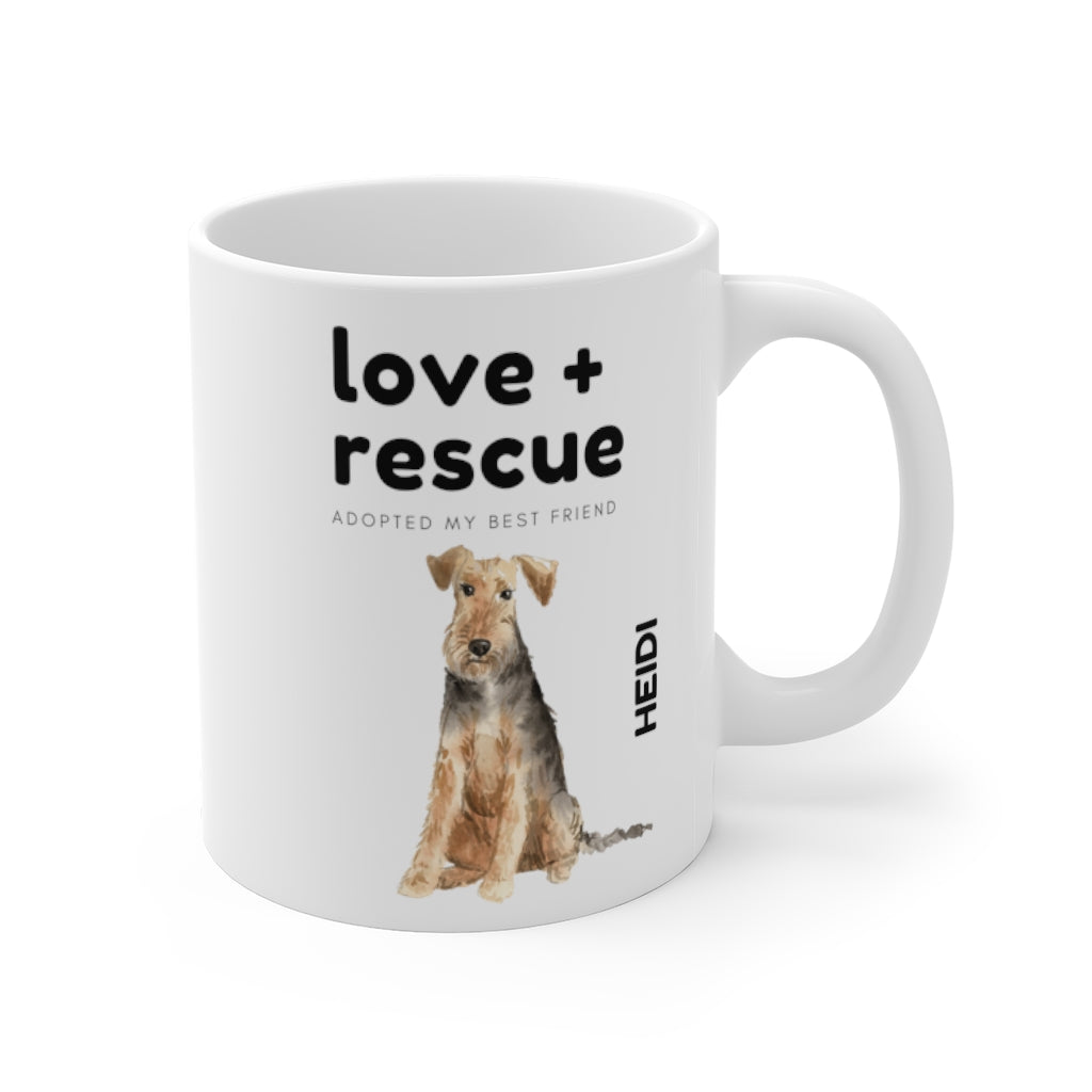 love + rescue Mug — Welsh Terrier (right side view)