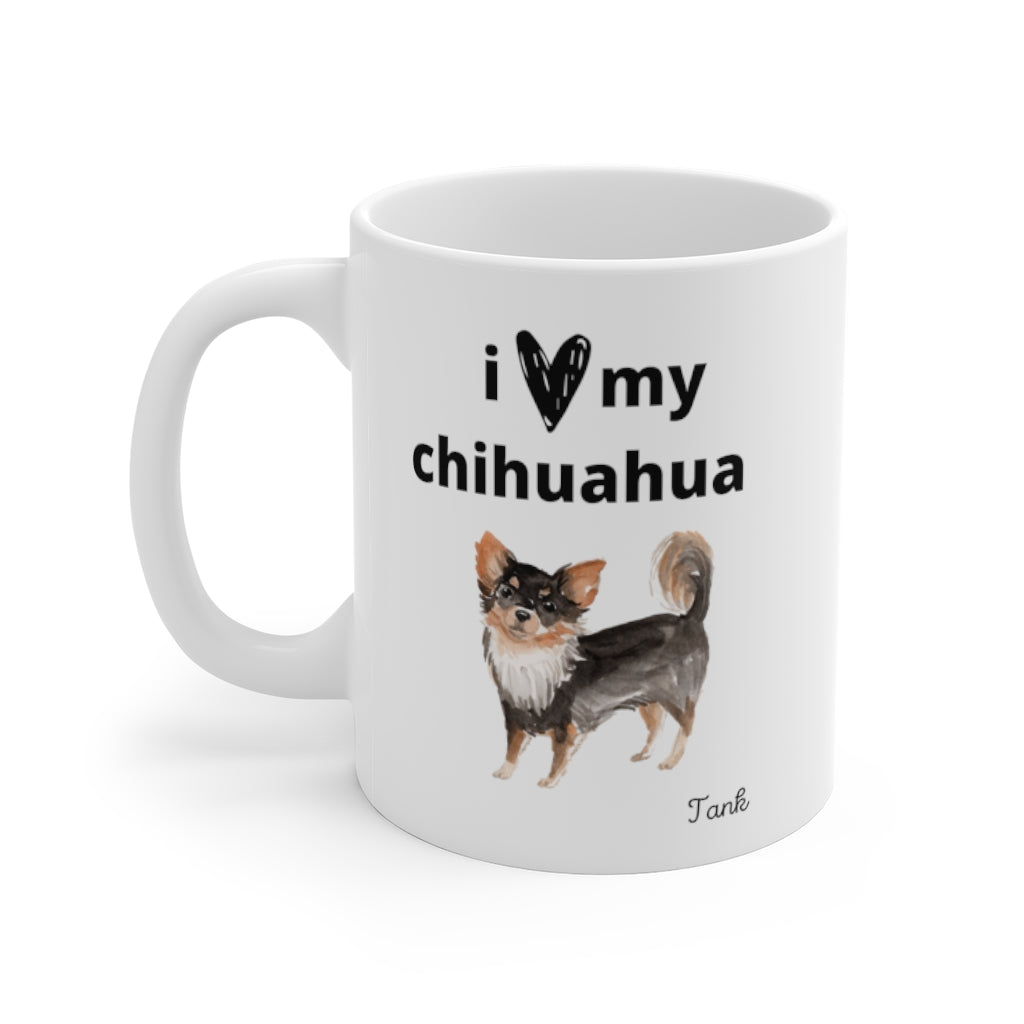 i love my chihuahua Mug — Long Haired Chihuahua (left side view)