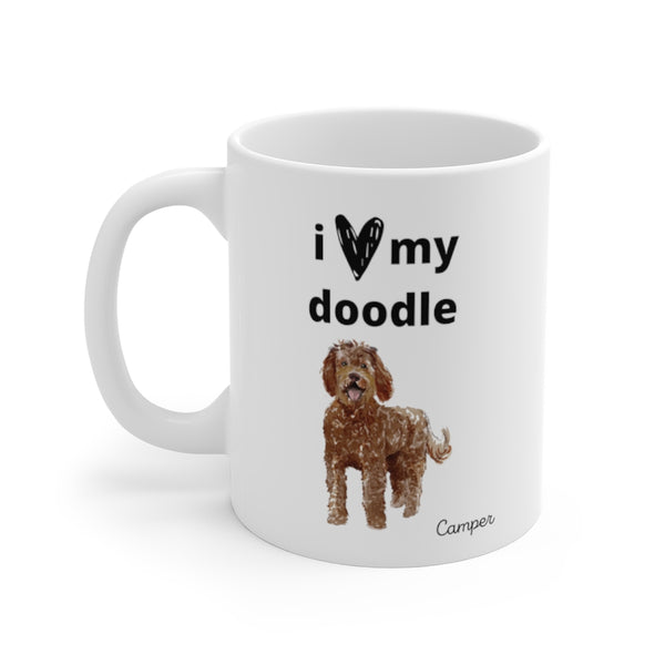 i love my doodle Mug — Chocolate Labradoodle (left side view)