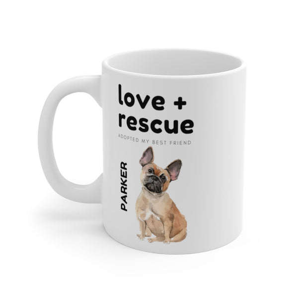 love + rescue Mug — Frenchie (left side view)
