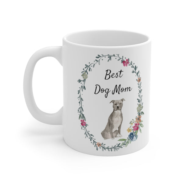 Best Dog Mom Mug — Blue & White Staffie (left side view)