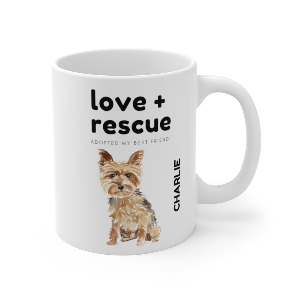 love + rescue Mug — Yorkie (right side view)