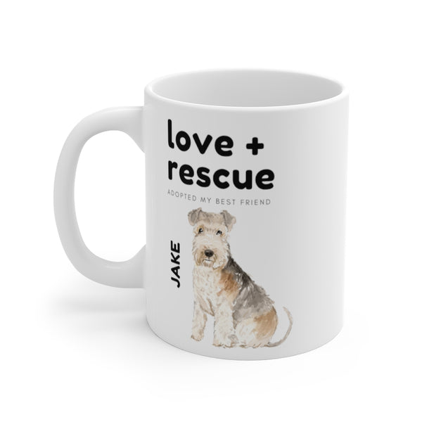 love + rescue Mug — Lakeland Terrier (left side view)