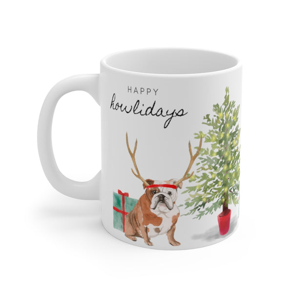Happy Howlidays Mug — Bulldog (left side view)