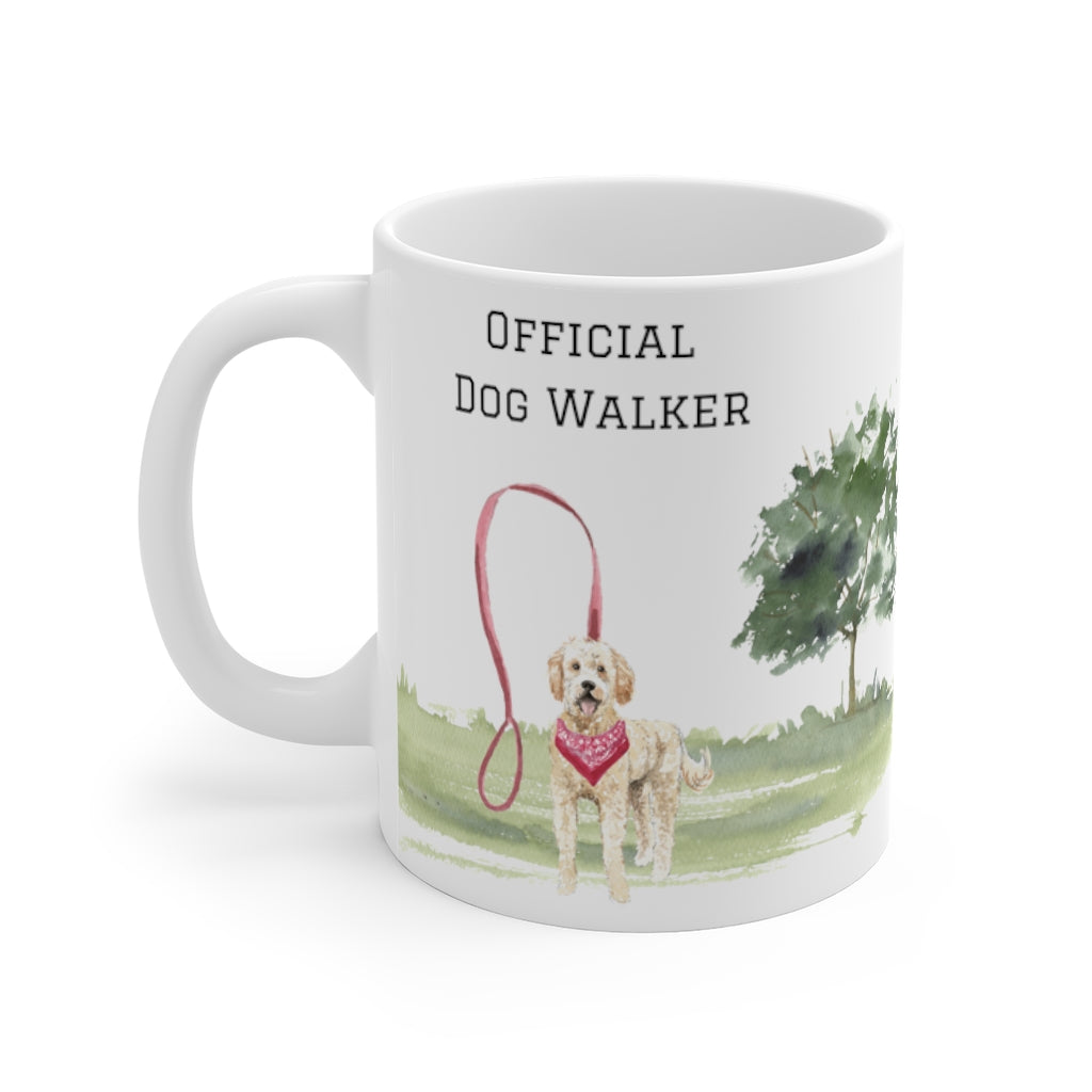 Official Dog Walker Mug — Blonde Labradoodle (left side view)