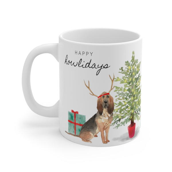 Happy Howlidays Mug — Blood Hound (left side view)