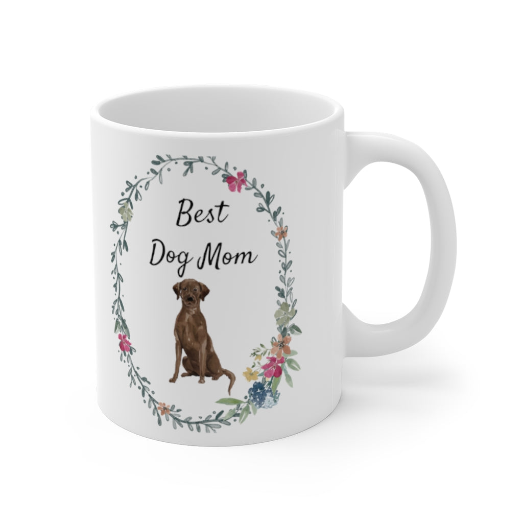 Best Dog Mom Mug — Chocolate Lab (right side view)
