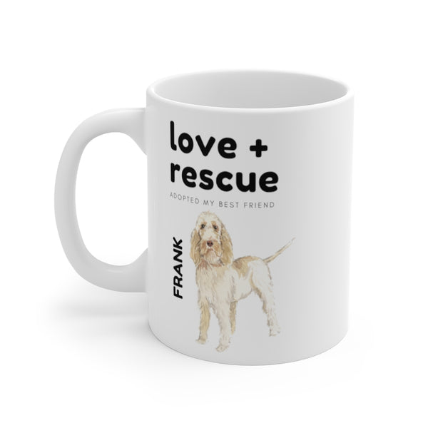 love + rescue Mug — Spinone Italiano (left side view)