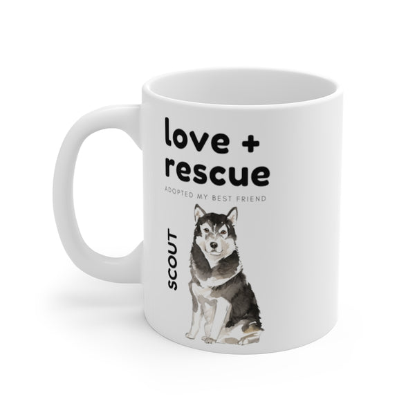 love + rescue Mug — Malamute (left side view)