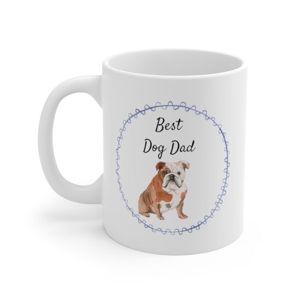 Best Dog Dad Mug — English Bulldog (left side view)