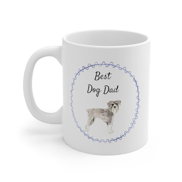 Best Dog Dad Mug — Schnauzer (left side view)
