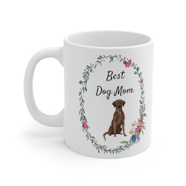 Best Dog Mom Mug — Chocolate Lab (left side view)