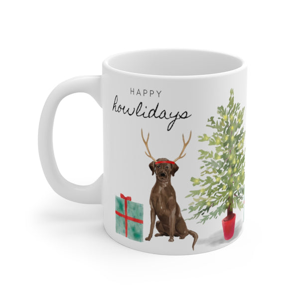 Happy Howlidays Mug — Chocolate Lab (left side view)