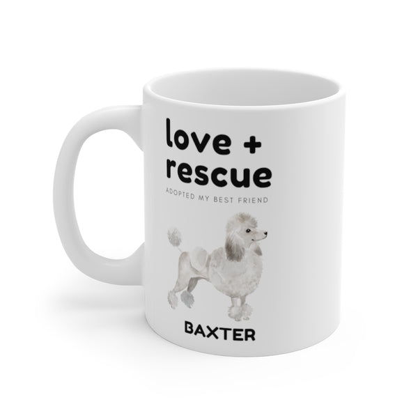 love + rescue Mug — White Poodle (left side view)