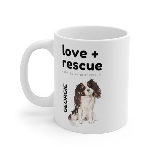 love + rescue Mug — Tri Color Cavalier King Charles Spaniel (left side view)