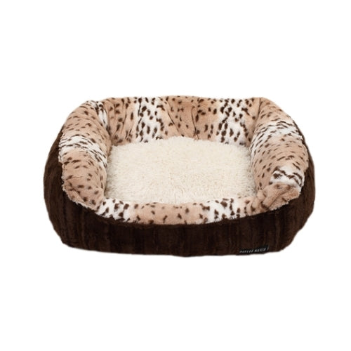 Baylee Nasco Lounge Nesting Dog Bed — Chocolate Mink + Leopard