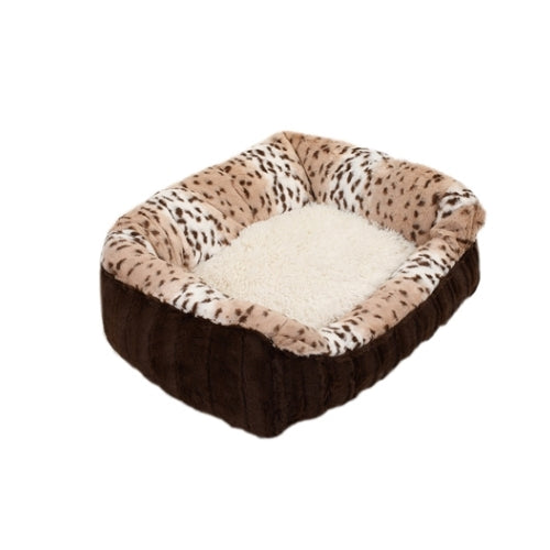 Baylee Nasco Lounge Nesting Dog Bed — Chocolate Mink + Leopard Side Angle View