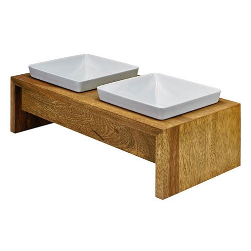 Artisan Rubberwood Double Elevated Dog Bowl Feeder — Bamboo