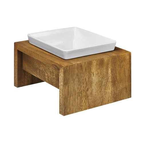 Bowsers Artisan BAMBOO Rubberwood Single Elevated Dog Bowl Diner