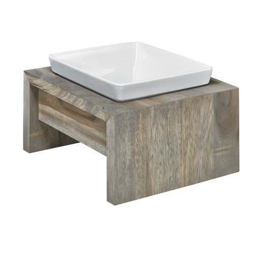 Artisan FOSSIL Rubberwood Single Elevated Dog Bowl Feeder