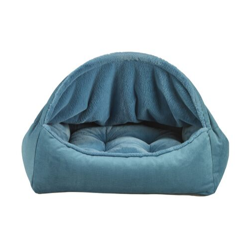 Bowsers Pet Canopy Dog Bed — Breeze Dream Fur + MicroVelvet Teal Front View