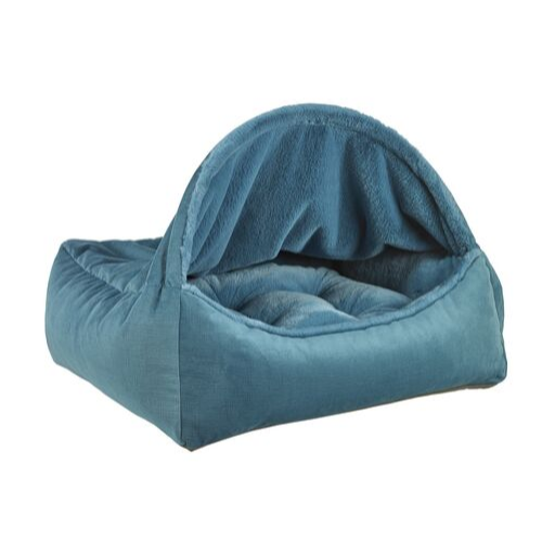 Bowsers Pet Canopy Dog Bed — Breeze Dream Fur + MicroVelvet Teal Side View