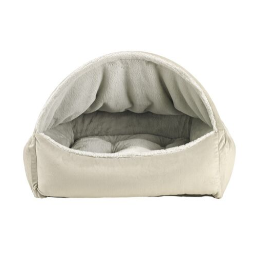 Bowsers Pet Canopy Dog Bed — Cloud Dream Fur + MicroVelvet Granite Front View