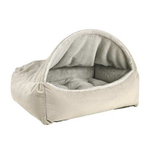 Bowsers Pet Canopy Dog Bed — Cloud Dream Fur + MicroVelvet Granite Side View