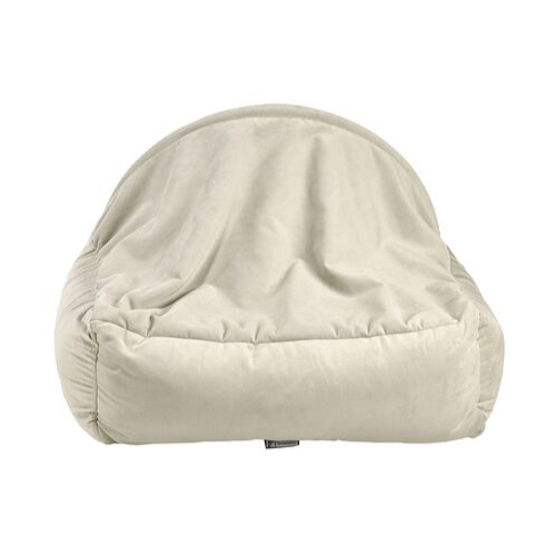 Bowsers Pet Canopy Dog Bed — Cloud Dream Fur + MicroVelvet Granite Back View