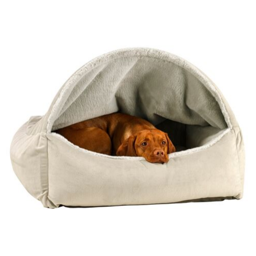 Bowsers Pet Canopy Dog Bed — Cloud Dream Fur + MicroVelvet Granite with Dog