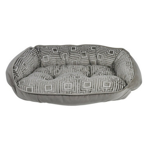 Crescent Bolstered Dog Bed — Cafe Au Lait Jacquard / Pebble MicroVelvet