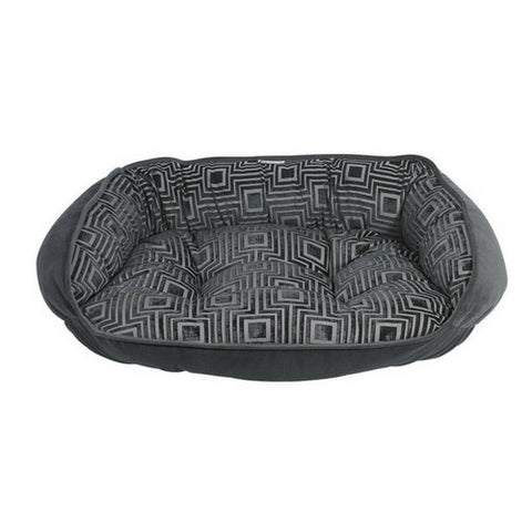 Crescent Bolstered Dog Bed — Twilight Jacquard / Ash MicroVelvet