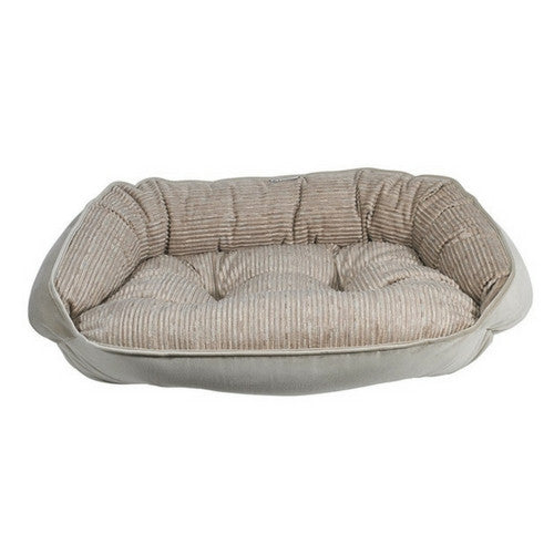 Crescent Bolstered Nest Dog Bed — Wheat MicroCord / Almond MicroVelvet