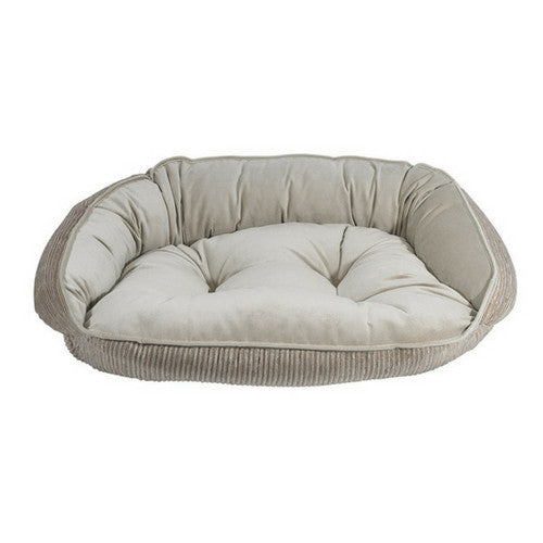 Crescent Bolstered Nest Dog Bed — Wheat MicroCord / Almond MicroVelvet Reverse View