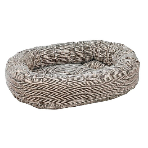 Bowsers Pet MicroVelvet Donut Bolstered Nesting Dog Bed — Herringbone