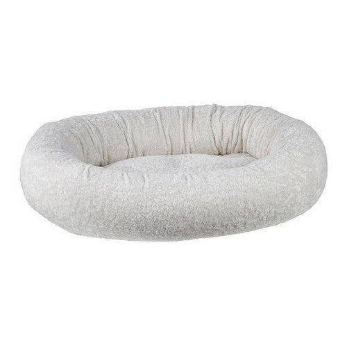 Bowsers Pet Faux Sheepskin Donut Bolstered Nesting Dog Bed — Ivory