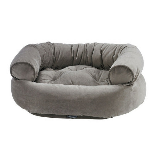 Bowsers MicroVelvet Double Donut Bolstered Nesting Dog Bed — Pebble