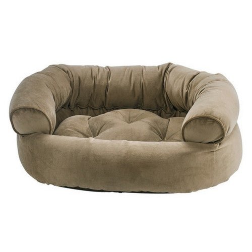 Bowsers MicroVelvet Double Donut Bolstered Nesting Dog Bed — Toffee
