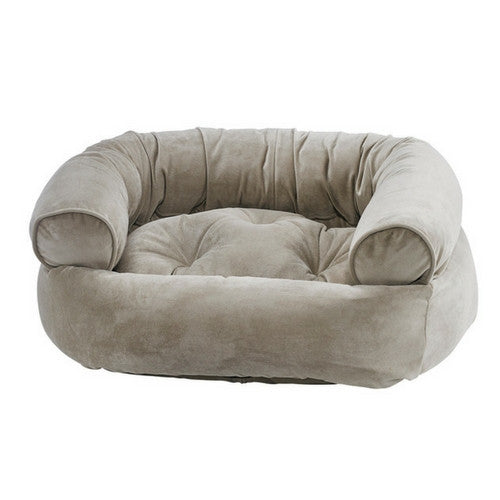 Bowsers MicroVelvet Double Donut Bolstered Nesting Dog Bed — Almond