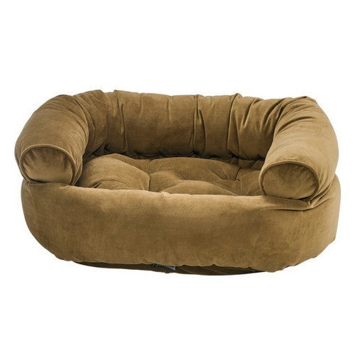 Bowsers MicroVelvet Double Donut Bolstered Nesting Dog Bed — Amber