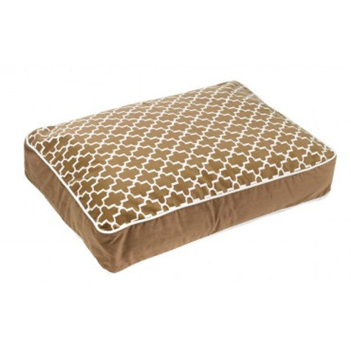 Bowsers MicroVelvet Super Loft Rectangle Dog Bed — Cedar Lattice