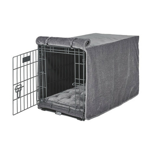 Bowsers Pet MicroVelvet Luxury Dog Crate Cover — Pumice Grey