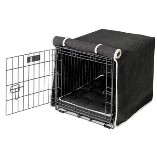 Bowsers MicroLinen Luxury Dog Crate Cover — Storm Dark Grey