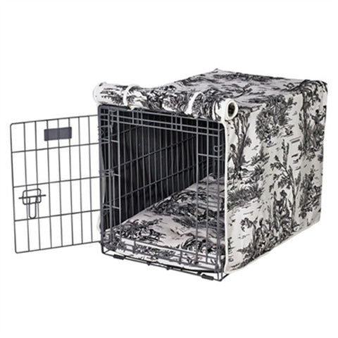 MicroVelvet Luxury Dog Crate Cover — Onyx Black Toile