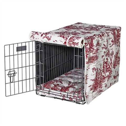 MicroVelvet Luxury Dog Crate Cover — Raspberry Red Toile