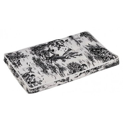 Bowsers MicroVelvet Luxury Dog Crate Mattress Pad Bed — Onyx Black Toile