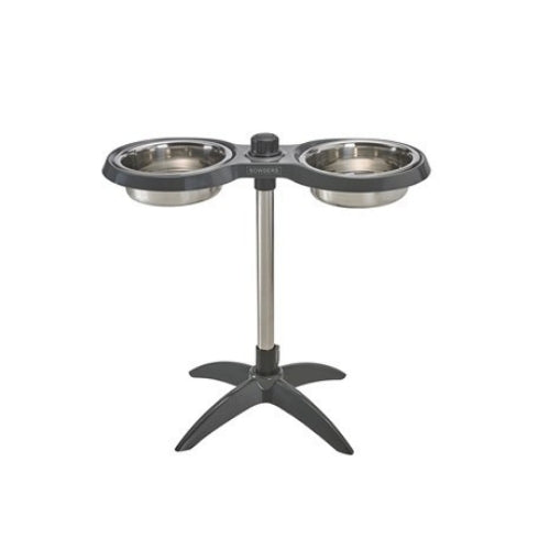 Bowsers Moderno Adjustable Elevated Dog Double Bowl Feeder — Graphite Front View